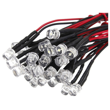 20CM 12V Wired For Light Emitting Diode Wiring LED Lot Size: 5mm Flat Top Color:white QTY:10Pcs