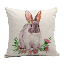 Cute Bunny Pillow Case Flower Pillowcase Happy Home Festival Rabbit Eggs Pattern Pillow Cover Party Supplies Household Pillowcas high quality horizontal block friends happy life pattern pillow case