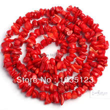 цена 6-8mm Pretty Red Coral Freeform Gravel Loose Beads Strand 34