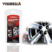 VISBELLA Alloy Wheel Repair Adhesive Kit 5 Minutes General Purpose Silver Paint Fix Tool for Car Rim Dent Scratch Care Accessory