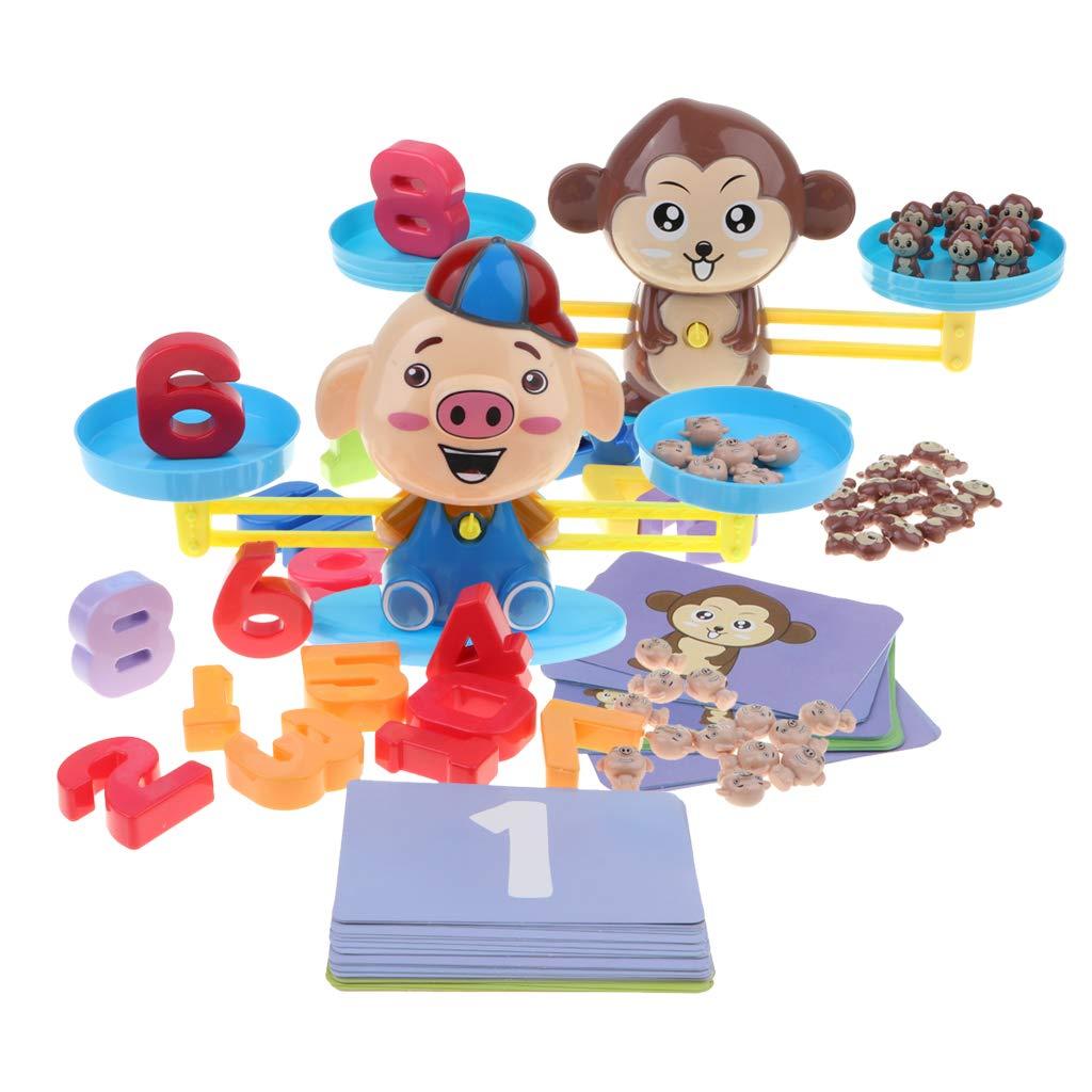 2 pièces Montessori matériel singe cochon Balance jeu de comptage début d'apprentissage mathématique jouets éducatifs pour enfants