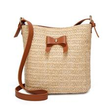 Country Style Casual Bow Straw Bag Shoulder Bucket Bags Creative Bowknot Crossbody For Women