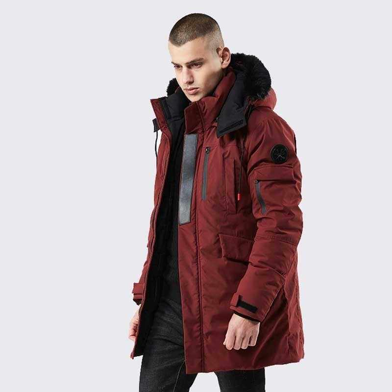 Moomphya 2019 Новое поступление теплая парка с капюшоном для мужчин длинные стиль зима куртка, Мужское пальто ветровка пальто верхняя одежда