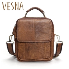 где купить 2019 New Genuine Leather Shoulder Bags Fashion Men Messenger Bag Small Ipad Male Tote Vintage New Crossbody Bags Men's Handbags дешево