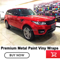High end series Self adhesive Gloss metallic vinyl Metal paint flame Red wrapping film solvent based low initial tack adhesive
