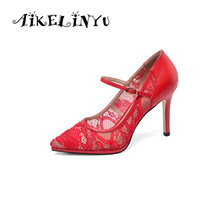 AIKELINYU Fashion Red Cusp Toe Slim-heeled Womens Wedding Shoes Elegant Classics Lace Pump Sexy Office Lady Party