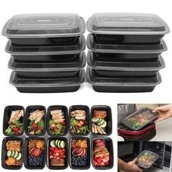 10 PCS 700 ML כיכר אמריקאי ארוחת תיבת PP מזון מיכל בנטו פיקניק ידידותית לסביבה עם מכסה במיקרוגל קופסות אוכל