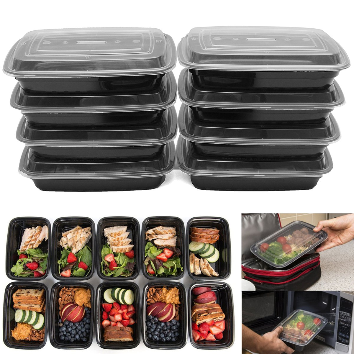 10PCS 700ML Square American Meal Box PP Food Container Lunch Box Bento Picnic Eco-friendly With Lid Microwavable Lunchboxes title=