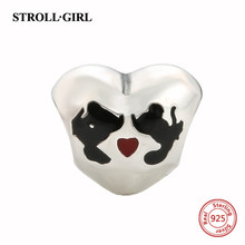 StrollGirl new arrival romantic love heart charms sterling Silver 925 beads fit Original Pandora Bracelet diy jewelry for Gifts