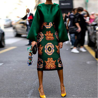 Plus Size Vintage Dress Summer Dress 2019 Women Long Sleeve Green Satin Dress Printed Ladies Elegant Party Dresses For Women 3XL