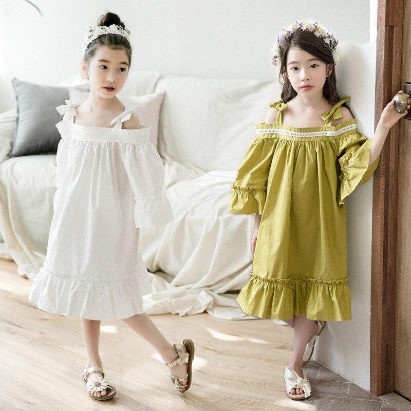 6-14 ans enfants robes pour filles robe d'été pour fête et mariage grandes filles robes coton trois quarts manches lâche robes