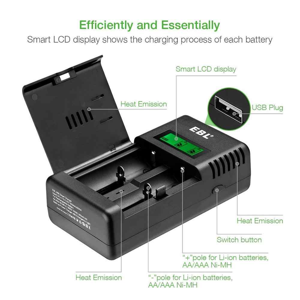 baa57076070733 ... EBL Smart Battery Charger 26650 18650 16340(RCR123A) 14500 Rechargeable  Batteries LED Flashlight Emergency