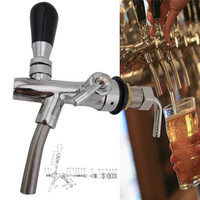 G5/8 Adjustable Kegerator Draft Shank Beer Faucet with Flow Controller Chrome Plating Tap Kit Home Brew Beer Wine Making Tool