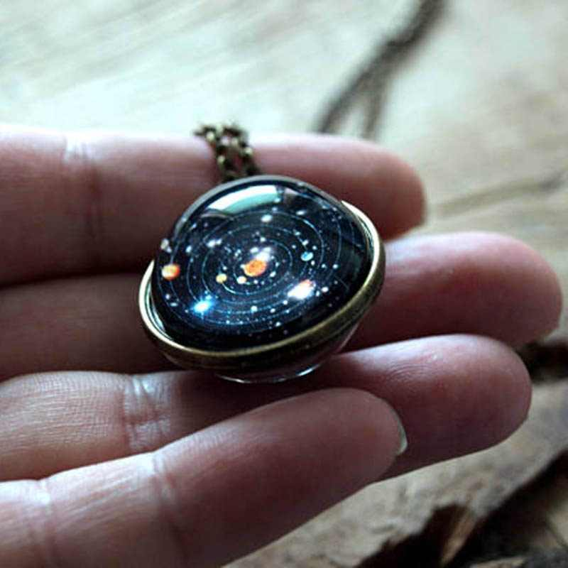 Solar System Necklace Women Jewelry Two-sided Starry Sky Chain Necklaces For Women Statement Necklace Men Collier Femme Sweater