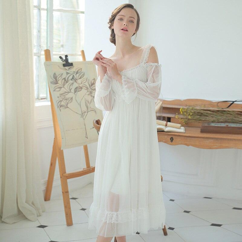 New Sexy Retro Princess   Nightgowns   Spaghetti Strap Women Dresses Slash Neck   Sleepshirts   Beautiful Goddess Long Evening Dress