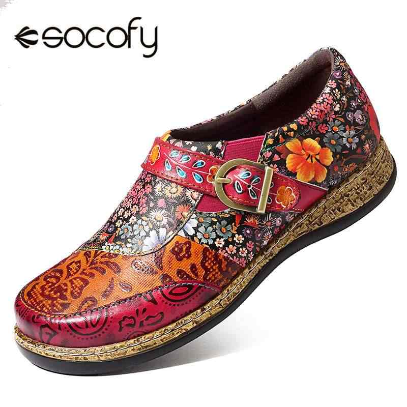 SOCOFY Vintage Buckle Genuine Retro Buckle Fancy Flowers Splicing Genuine Leather Stitching Slip On Comfortable Flat Shoes