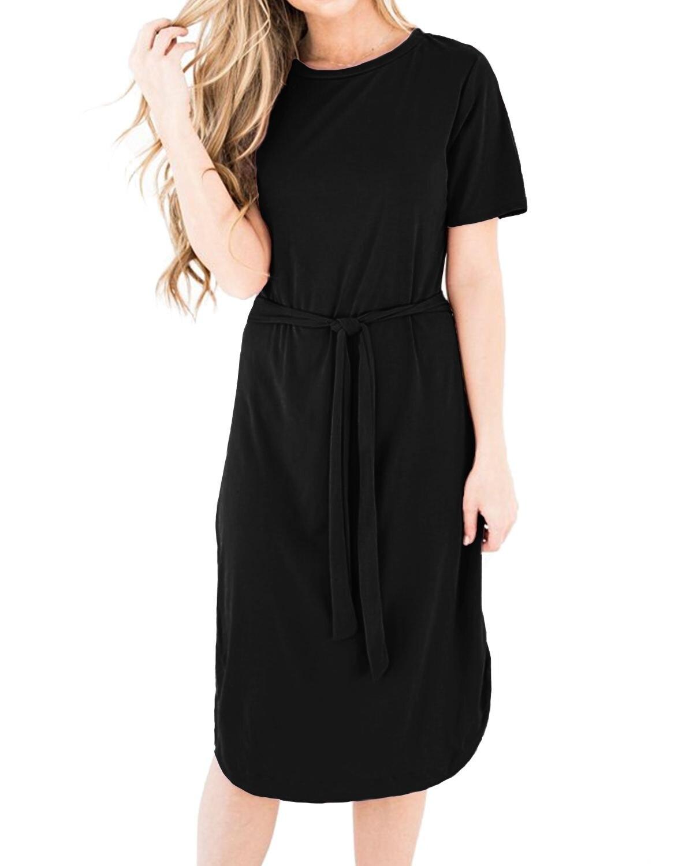 2019 летние женские черные платья прямые Клубные вечерние до колена длина вырез лодочкой короткий рукав сбоку сплит изогнутый подол вечернее...