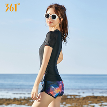 361 Women Swimwear Sexy Two Piece Swimsuit Push-Up Tight Short Sleeve Sport Swimsuits Ladies Black Zipper Bathing Suits