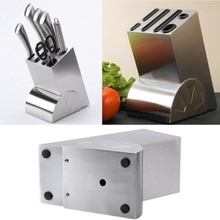 Stainless Steel Knife Holder Creative Block Kitchen Knives Storage Rack Inserted Organizer