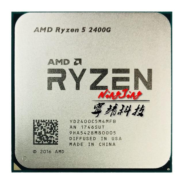 Amd ryzen 5 2400g r5 2400g 3.6 ghz quad core oito thread 65w processador central yd2400c5m4mfb soquete am4