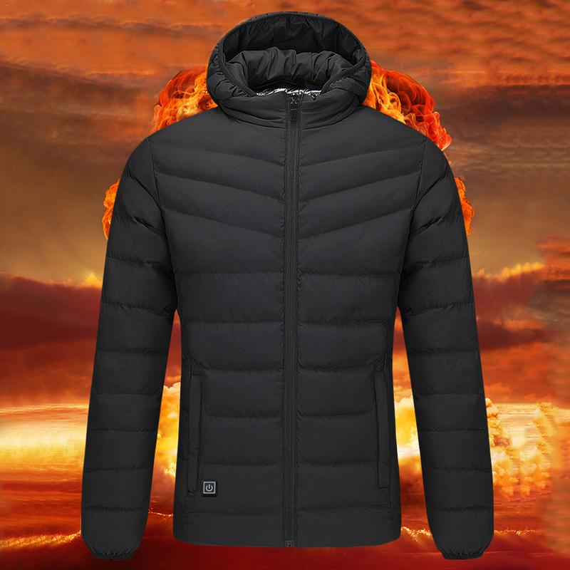 Hot Winter Men's Winter Electric Heating Vest Warm Coat For Snow Biker Outdooor Heated Down Jacket Kit With USB Power Bank usb ultra thin winter electric heated sleevless hiking vest jacket winter warm down infrared heated outerwear coats slim fit