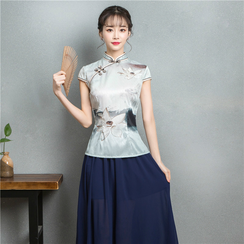 Women Silk Vintage Chinese Tops Vetement Cheongsam Suit Literature Style Ink Printing Ancient Qipao Blouse Skirt Folk Clothes
