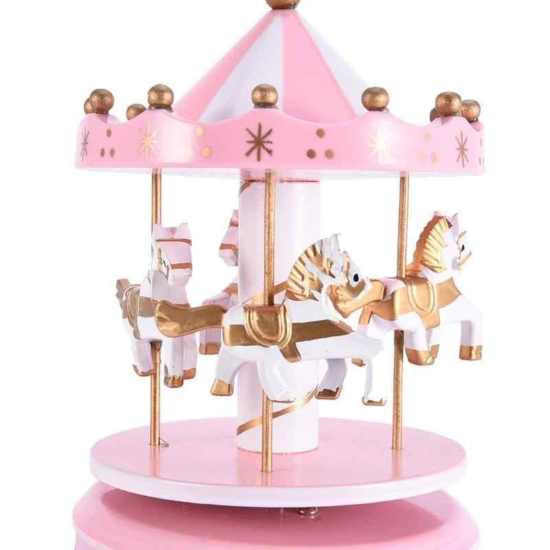 Cavalo de madeira do vintage merry-go-round carrossel caixa de música para crianças crianças meninas natal presente de aniversário brinquedo decoração de casamento