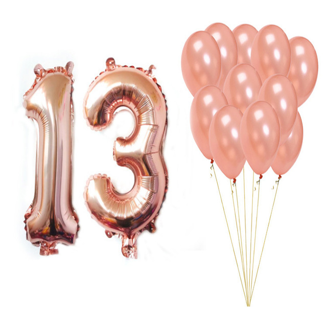 32 Rose Gold Globos Numeros Digital Balloon 13 16 18 21 30 40 50 60 70 Number Aluminum Foil Ball Round Latex Birthday