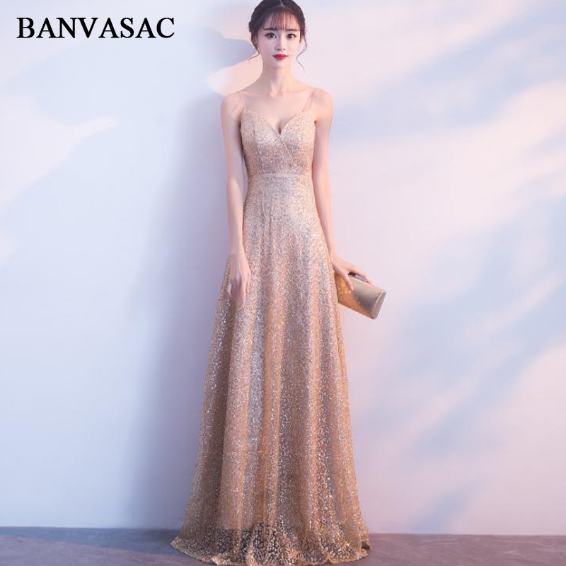 BANVASAC Sexy Deep V Neck Gold Bronzing A Line Long   Evening     Dresses   Party Spaghetti Strap Sash Backless Prom Gowns
