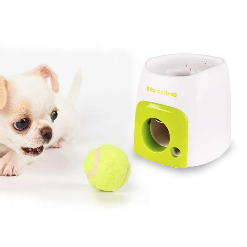Automatic Interactive Fetch Ball Tennis Launcher Dog Toys Throwing Machine Pet Throw Device Emission With Ball