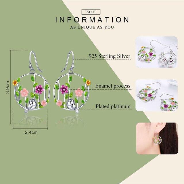 925 Sterling Silver Blooming Forest Birds Secret Drop Earrings 1