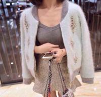 fashion Women Sweater mink Cashmere Cardigan zipper Knitwear mosaic Diamond Color Patchwork Outwear Autumn Winter Female Jackets