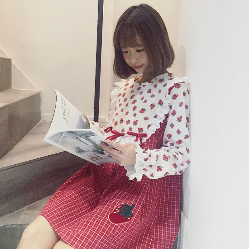New Sweet Japanse Women Dress Cute Strawberry Printed Plaid Patchwork Long Sleeve Female Dress
