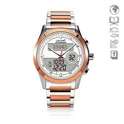 Islam Azan zegarek z podwójnym wyświetlaczem różowe złoto ze stali nierdzewnej muzułmański zegarek Quatz do modlitwy relogio masculino skórzane pudełko w Zegarki kwarcowe od Zegarki na