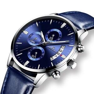 Image 2 - MEGALITH ساعة عادية بسيطة للرجل جلد طبيعي ساعات المعصم مقاوم للماء كرونوغراف تاريخ التقويم ساعات كوارتز ساعة الذكور