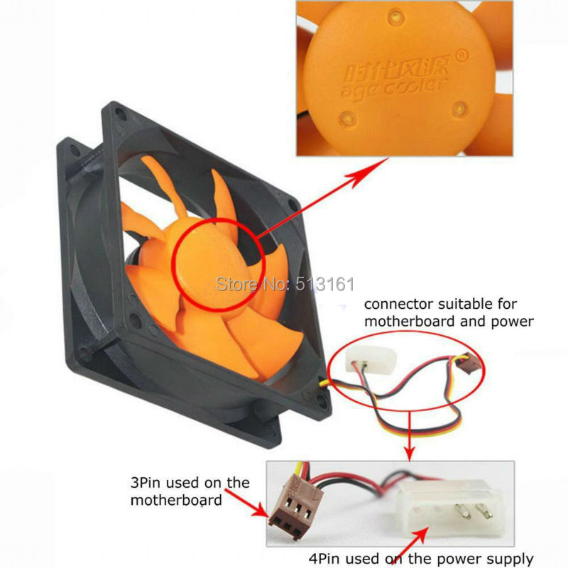 Купить с кэшбэком 5PCS Gdstime Silent 80mm 12V 80mmx25mm 8025 DC Cooling Fan For Computer Case Cooler
