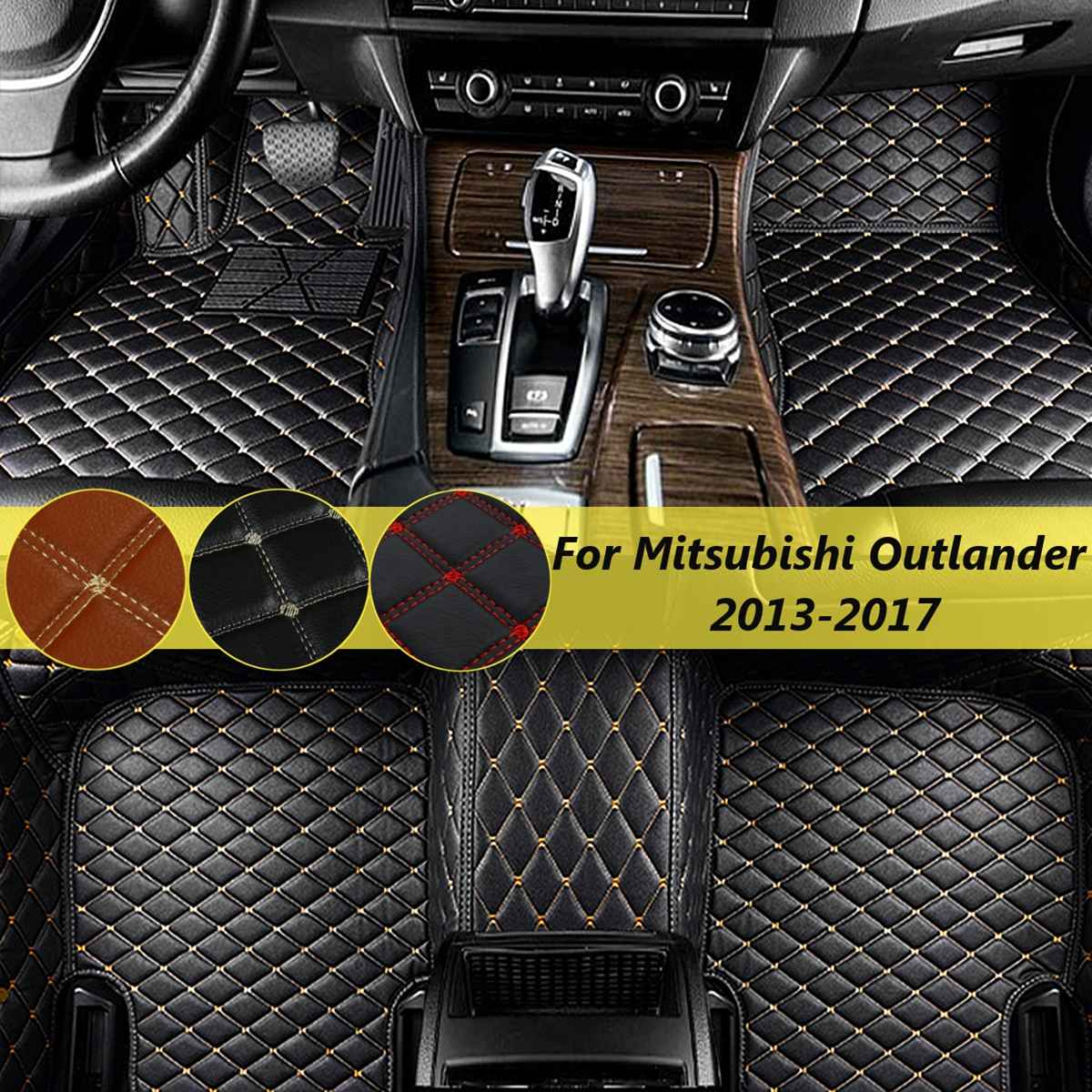 For Mitsubishi Outlander 2013 2014-2017  Car Front Rear Floor Mat 1Set 3Pc Cover Foot Mat Carpet Waterproof SLG7131J AccessoriesFor Mitsubishi Outlander 2013 2014-2017  Car Front Rear Floor Mat 1Set 3Pc Cover Foot Mat Carpet Waterproof SLG7131J Accessories