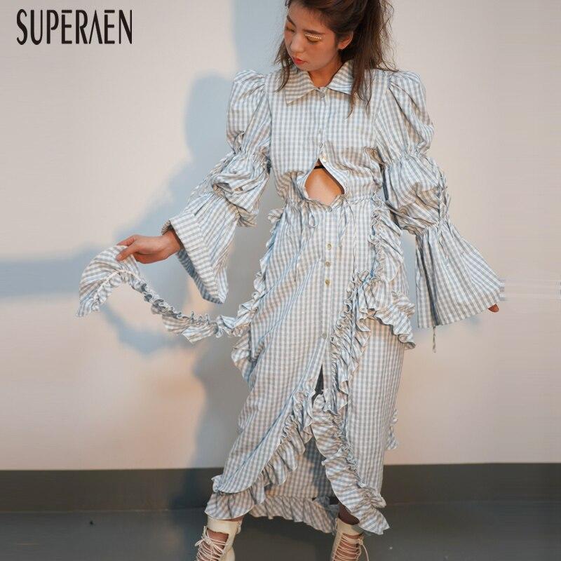 Superaen 새로운 2019 봄 패션 여성 드레스 비대칭 코튼 와일드 긴 소매 드레스 여성 캐주얼 여성 clohing-에서드레스부터 여성 의류 의  그룹 1