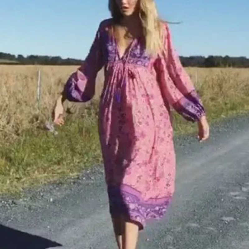 Plus Size floral dress Women V-neck Boho Hippie Loose lady Long Sleeve Casual mid-calf vacation holiday party Beach Maxi Dress