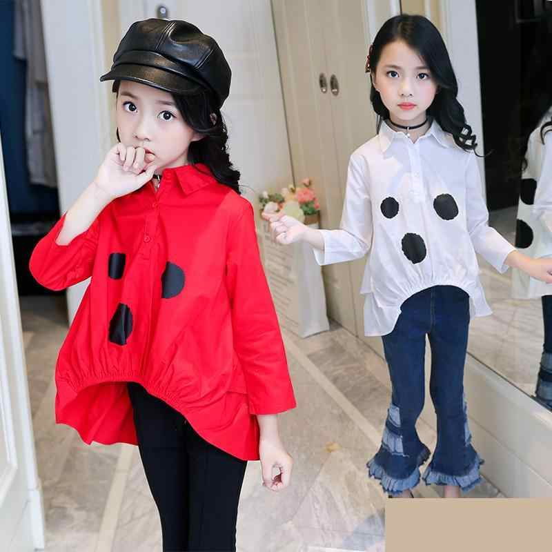 2019 Toddler Teenage Baby Girl White Blouses Autumn Girls Tops Kids School Long Sleeve Shirts Kids Clothes 9 10 12 14 year