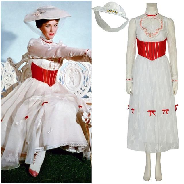 new concept 58b07 95012 US $94.9 5% di SCONTO|Nuovo Mary Poppins Bianco In Pizzo Abito Cosplay  Costume di Halloween Delle Signore Del Vestito Operato in Nuovo Mary  Poppins ...