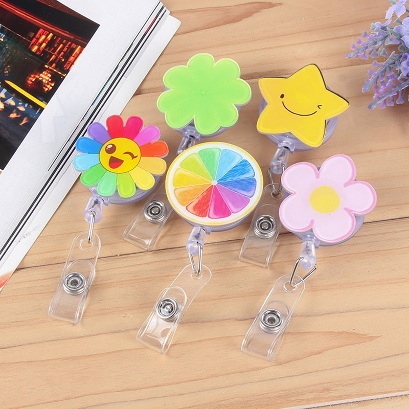 Mini Flowers Retractable Badge Reel Pull Key Cartoon Lemon Stars Name Card ID Badge Holder Cute Buckle Name Tag Card Holder Gift