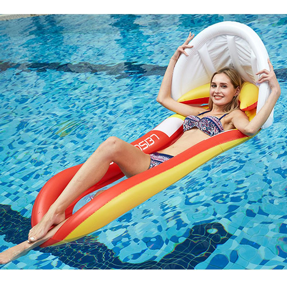 160*90cm Summer Water Sports Hammock Inflatable Beach Lounger Backrest Recliner Floating Sleeping Bed