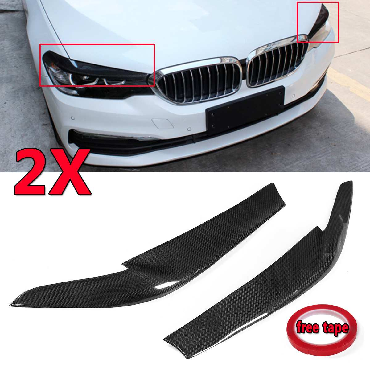 1xReal Carbon Fiber Car Front Headlight EyeLids Eyebrows Cover For <font><b>BMW</b></font> <font><b>G30</b></font> <font><b>530i</b></font> 540i M550i 2017-2018 Head Lamp Cover Cap Eye Lid image