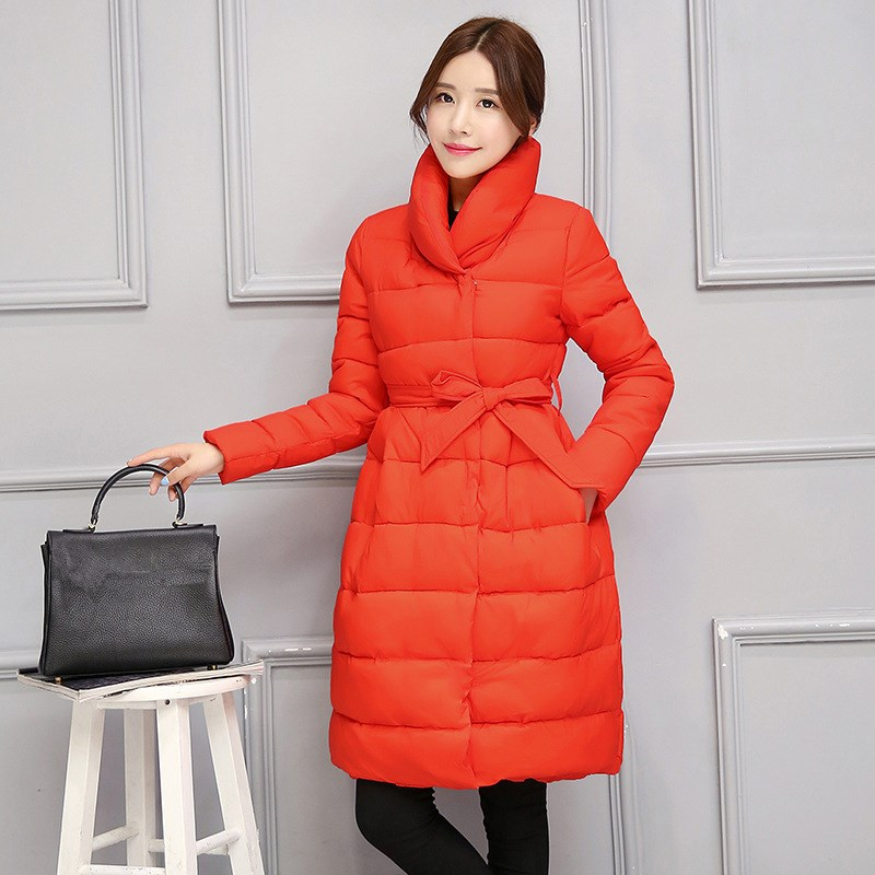 Female Long Parkas Women Winter Coat Thickening Cotton Jacket With Belt Womens Stand Collar Wadded Outwear