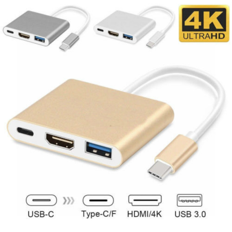 Type C USB 3.1 to USB-C 4K HDMI USB 3.0 Adapter 3 in 1 Hub For Macbook Pro BP