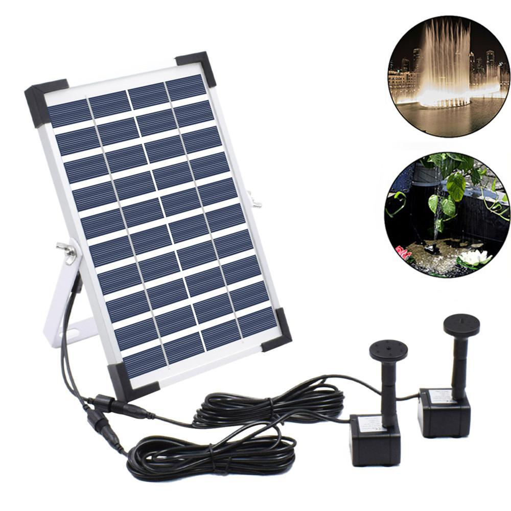 10V 5W Solar Powered Fountain Double Water Pump Solar Panel Water Fountain Outdoor Garden Pond Submersible