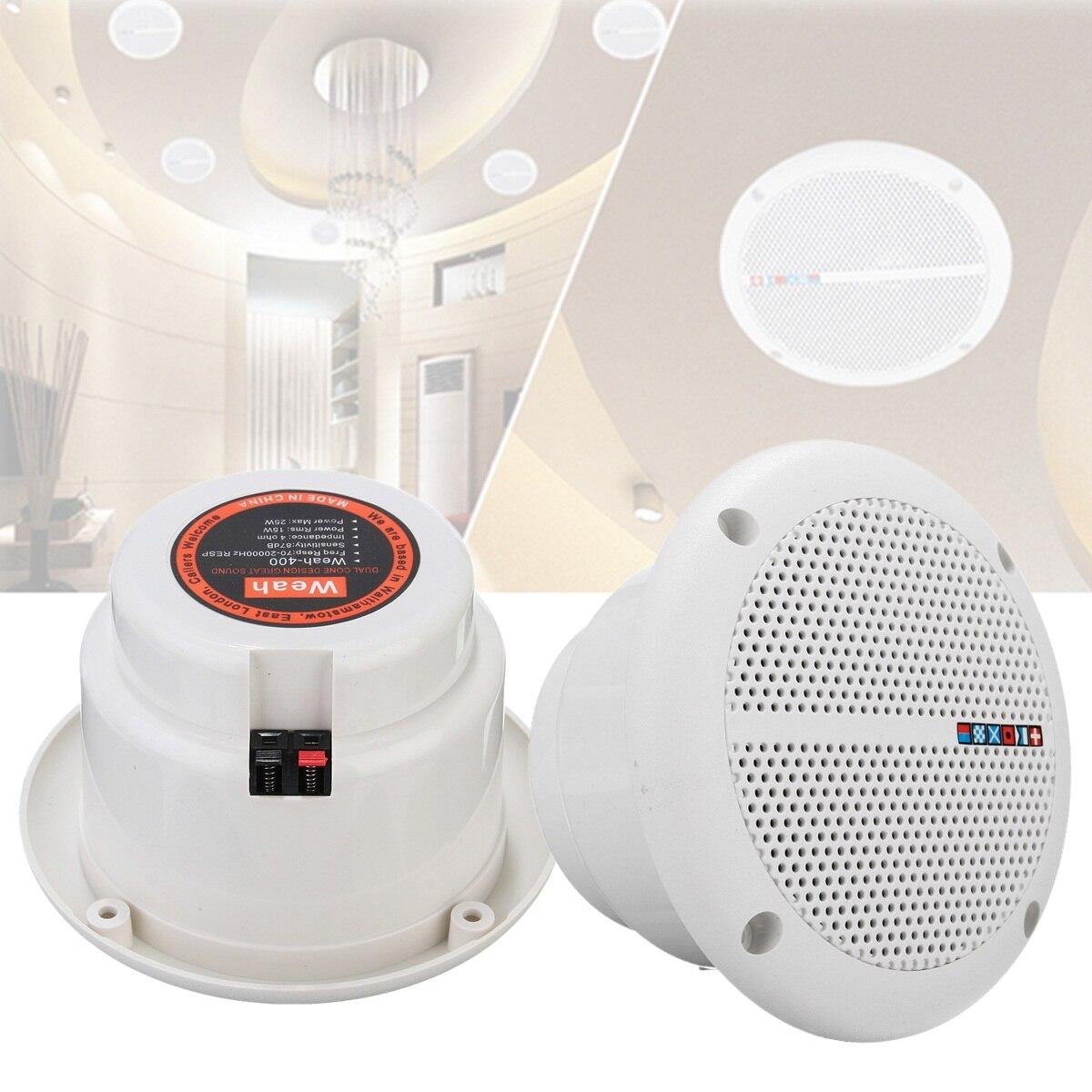 "2x Waterproof Home Speakers System 6.5/"" 2Way Flush Mount Full Range Ceiling Wall"