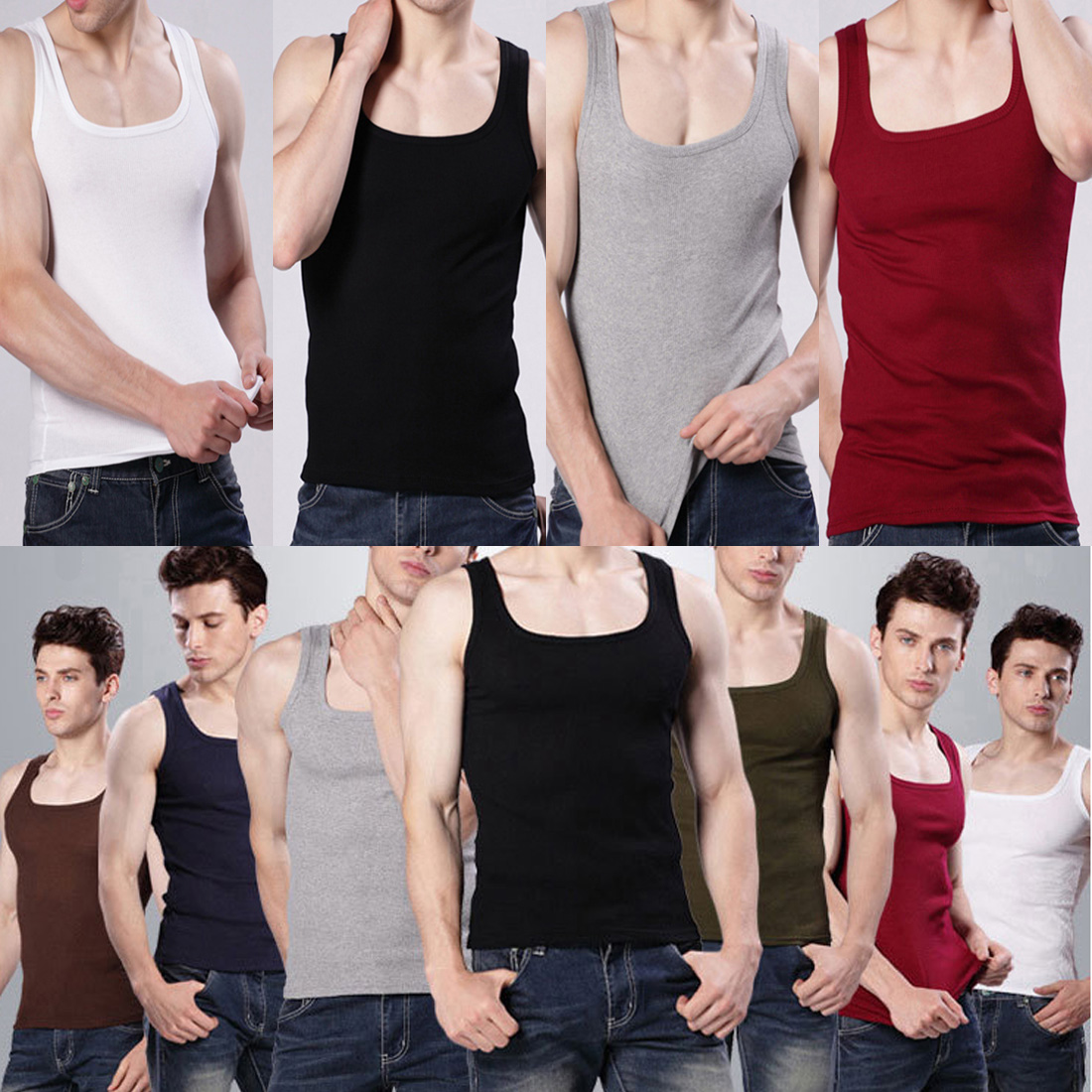 Men Plain   Tank     Tops   Muscle Tees Sleeveless Casual Summer New Fashion   Tops     Tanks   Men Clothse