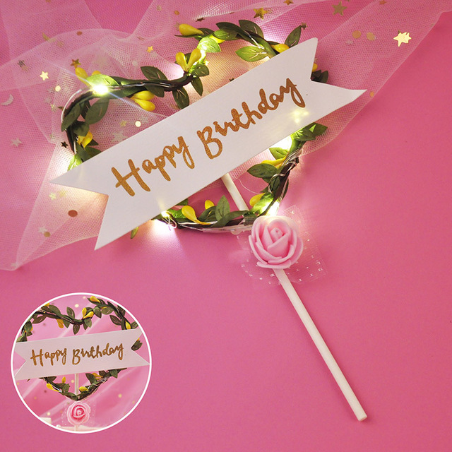 Flower LED Cupcakes Cake Toppers Baby Shower For Girl Happy Birthday Cake Topper Party Decoration Suppliers Cake Decorating Tool